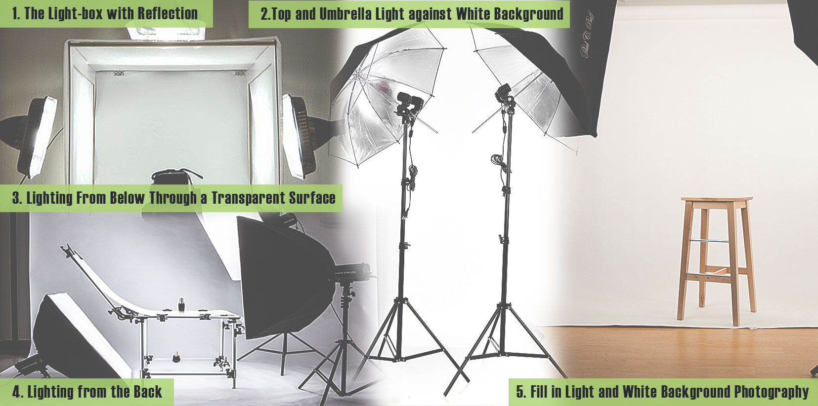 arrangements of product lighting.