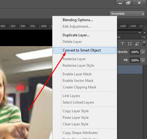 Covert to Object work in Photoshop