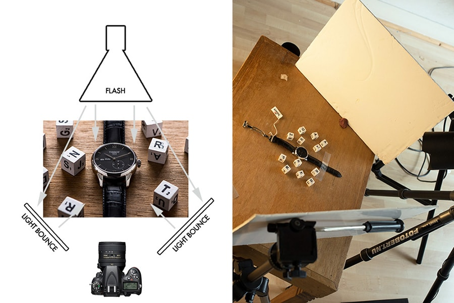 Lighting setting for watch photography
