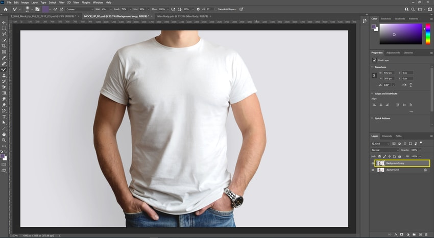 Open image in Photoshop and duplicate Background layer