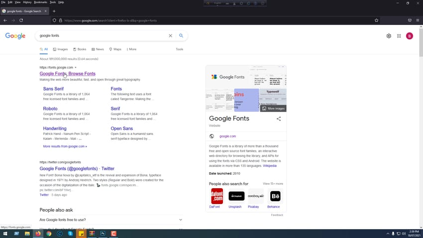 Open browser and visit Google fonts