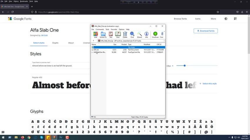 Double click font
