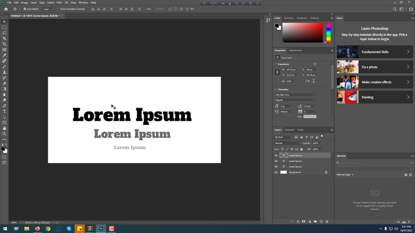 how to add fonts in PS- Final output